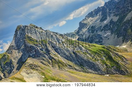 Impressive peaks in Neouvielle Massif in Pyrenees Mountains seen from Col du Tourmalet.