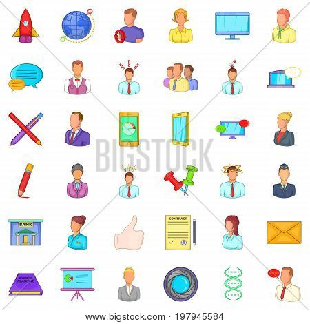 Business project icons set. Cartoon style of 36 business project vector icons for web isolated on white background