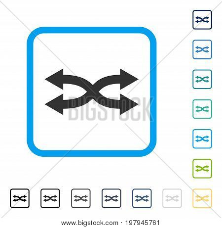 Shuffle Arrows Horizontal icon inside rounded square frame. Vector illustration style is a flat iconic symbol in some color versions.