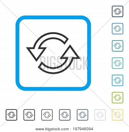 Sync Arrows icon inside rounded square frame. Vector illustration style is a flat iconic symbol in some color versions.