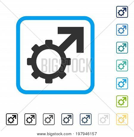Technological Potence icon inside rounded square frame. Vector illustration style is a flat iconic symbol in some color versions.