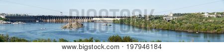 Hydroelectric power station beautiful on river Dnipro