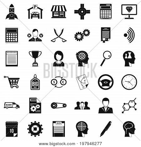 Business selection icons set. Simple style of 36 business selection vector icons for web isolated on white background
