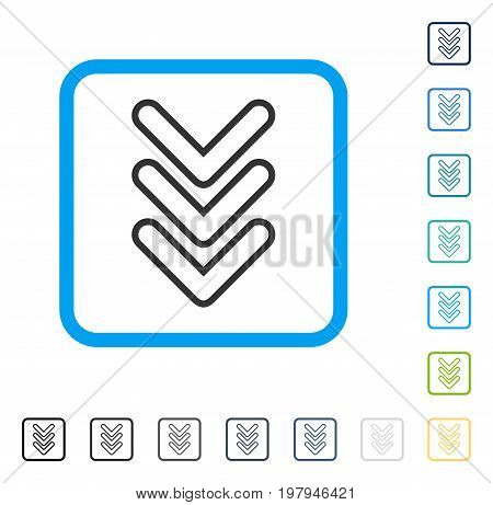 Triple Pointer Down icon inside rounded rectangle frame. Vector illustration style is a flat iconic symbol in some color versions.