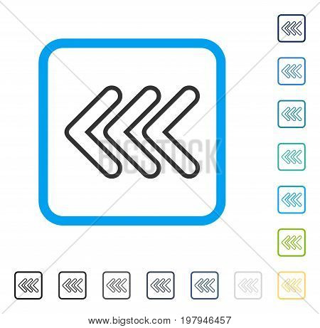 Triple Pointer Left icon inside rounded rectangle frame. Vector illustration style is a flat iconic symbol in some color versions.