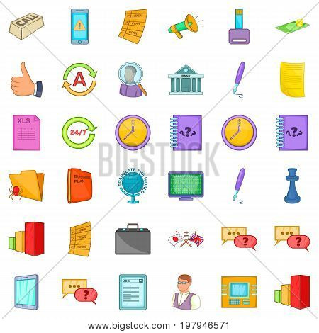 End of business icons set. Cartoon style of 36 end of business vector icons for web isolated on white background