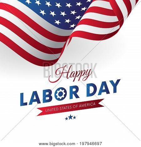 Happy Labor Day. White background. Waving flag. Red gradient ribbon. Vector illustration.