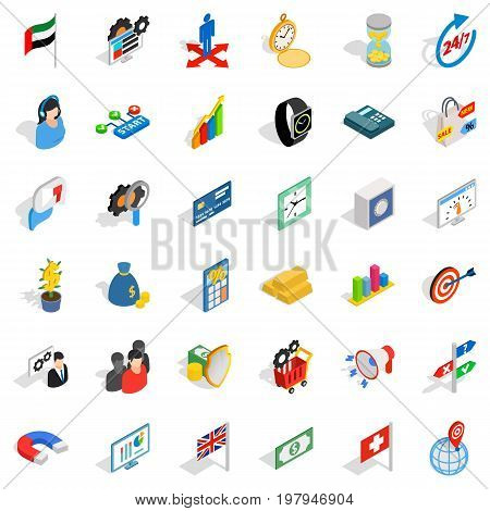 Businesswoman icons set. Isometric style of 36 businesswoman vector icons for web isolated on white background