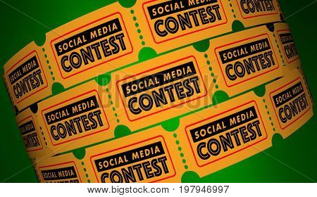 Social Media Contest Network Connections Tickets 3d Illustration