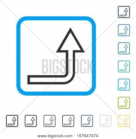Turn Up icon inside rounded square frame. Vector illustration style is a flat iconic symbol in some color versions.