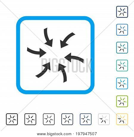 Twirl Arrows icon inside rounded square frame. Vector illustration style is a flat iconic symbol in some color versions.