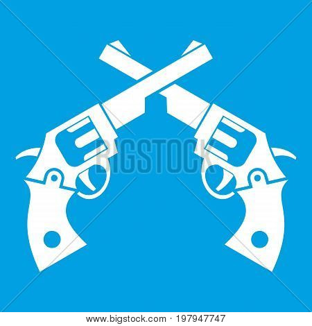 Revolvers icon white isolated on blue background vector illustration