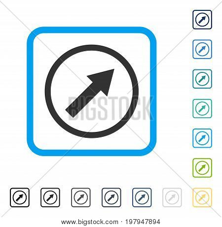 Up-Right Rounded Arrow icon inside rounded square frame. Vector illustration style is a flat iconic symbol in some color versions.