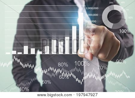 Businessman touching graphs of financial indicator and accounting market economy analysis, display data of growing business with different types of graphs bar, pie and line chart on visual screen
