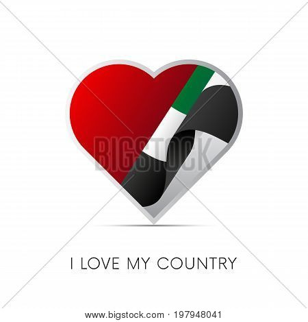 United Arab Emirates flag in heart. UAE. I love my country. sign. Vector illustration.