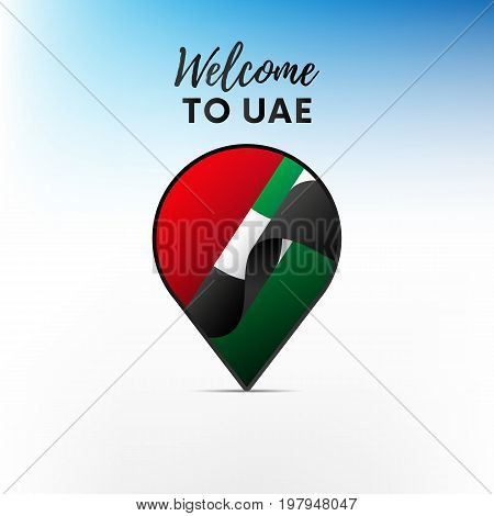 Flag of United Arab Emirates in shape of map pointer or marker. Welcome to United Arab Emirates. UAE. Vector illustration.