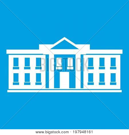 White house USA icon white isolated on blue background vector illustration