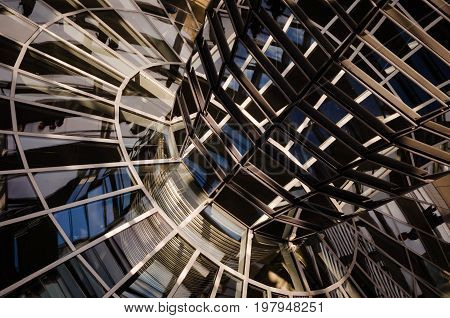 Transparent glass cupola and mirros above the Parliament building in Berlin Germany.