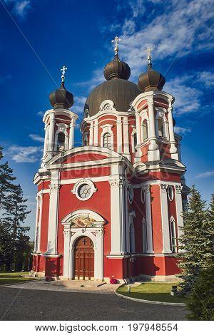 Curchi monastery in Moldova over deep blue sky