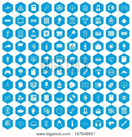 100 information icons set in blue hexagon isolated vector illustration