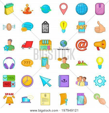 Calling phone icons set. Cartoon style of 36 calling phone vector icons for web isolated on white background