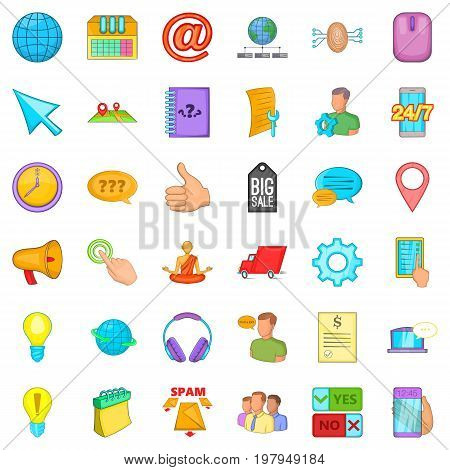 Phone talking icons set. Cartoon style of 36 phone talking vector icons for web isolated on white background