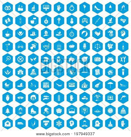 100 joy icons set in blue hexagon isolated vector illustration