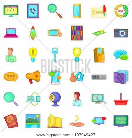 All day service icons set. Cartoon style of 36 all day service vector icons for web isolated on white background