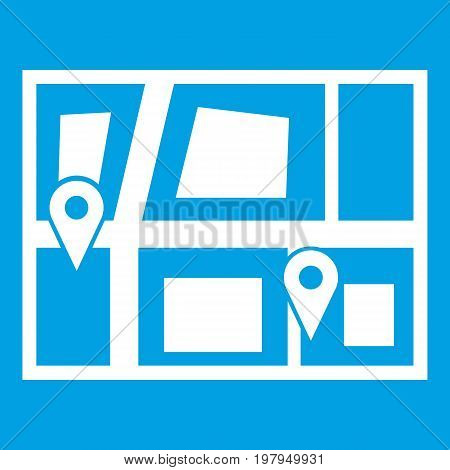 Geo location of taxi icon white isolated on blue background vector illustration