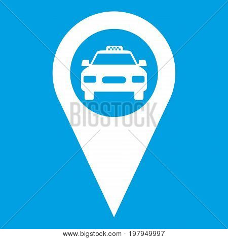 Geo taxi icon white isolated on blue background vector illustration