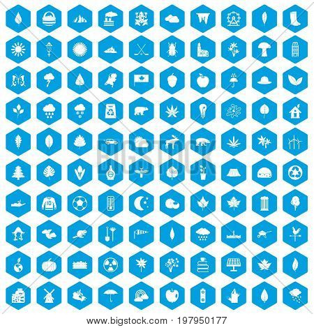 100 leaf icons set in blue hexagon isolated vector illustration