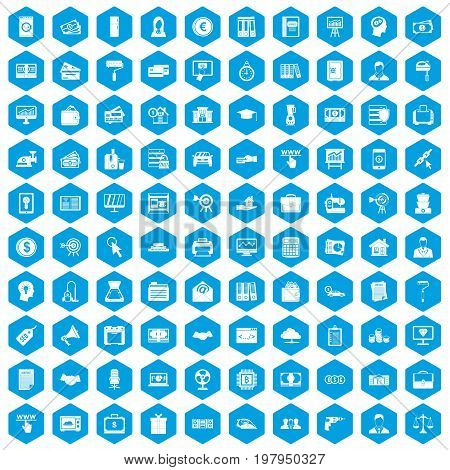 100 lending icons set in blue hexagon isolated vector illustration