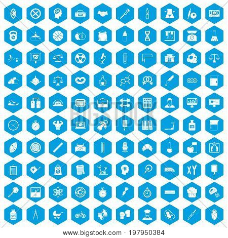 100 libra icons set in blue hexagon isolated vector illustration