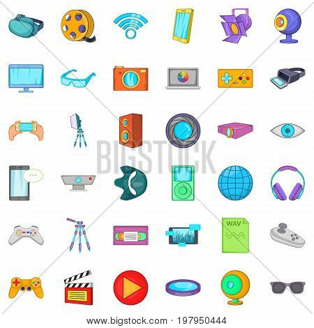 Cinema icons set. Cartoon style of 36 cinema vector icons for web isolated on white background