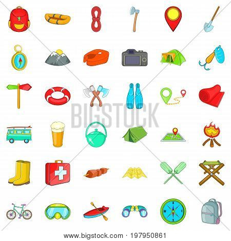 Camp walking icons set. Cartoon style of 36 camp walking vector icons for web isolated on white background