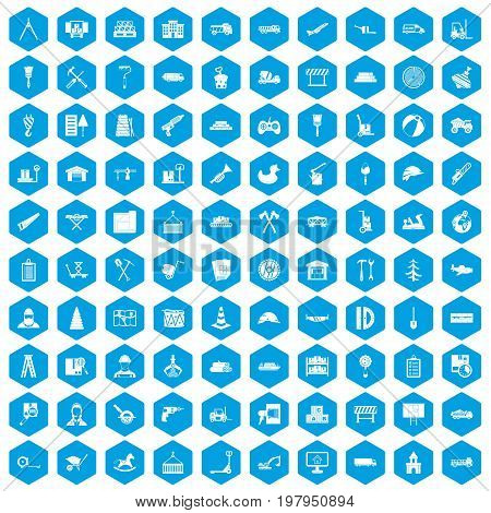 100 lorry icons set in blue hexagon isolated vector illustration
