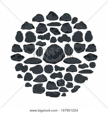 Stone flat icons set vector illustration for design and web isolated on white background. Cobblestone vector object for labels, logos and advertising
