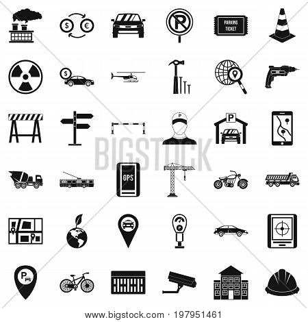 Radio taxi icons set. Simple style of 36 radio taxi vector icons for web isolated on white background