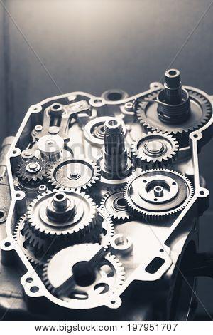 engine gear wheels, industrial background