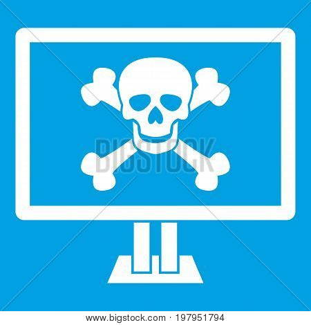 Computer monitor with a skull and bones icon white isolated on blue background vector illustration