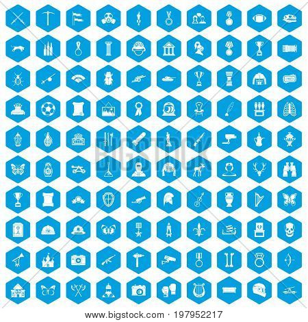 100 museum icons set in blue hexagon isolated vector illustration