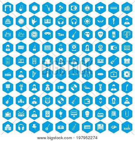 100 music icons set in blue hexagon isolated vector illustration