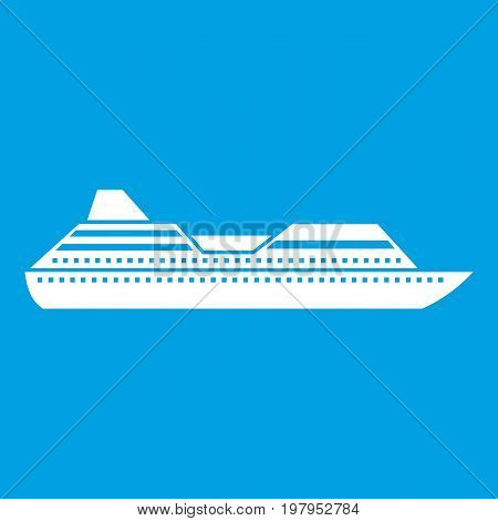 Cruise liner icon white isolated on blue background vector illustration
