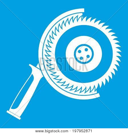 Circle saw icon white isolated on blue background vector illustration