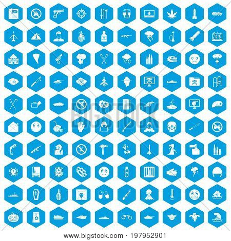 100 oppression icons set in blue hexagon isolated vector illustration