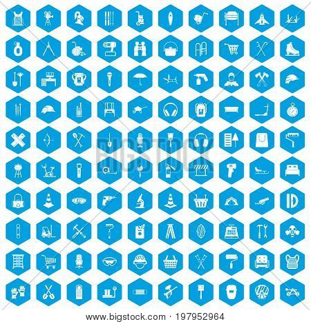 100 outfit icons set in blue hexagon isolated vector illustration