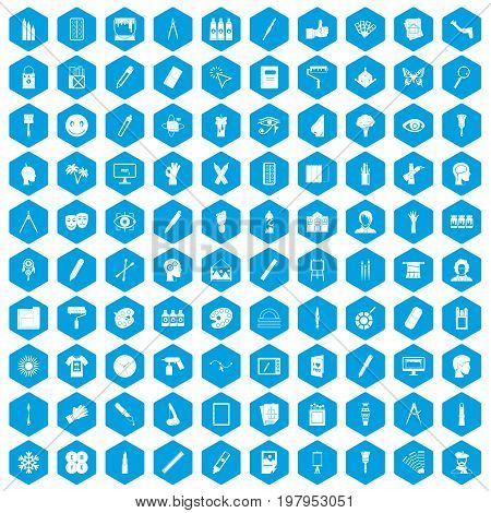 100 paint icons set in blue hexagon isolated vector illustration