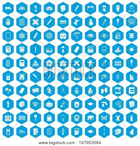 100 paint school icons set in blue hexagon isolated vector illustration