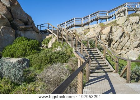 Staircase leading up the granite rock wall enabling easy to reach to the Granite Island top section. Part of the Fleurieu Peninsula.