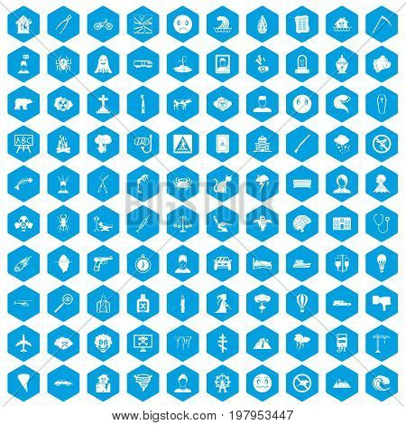 100 phobias icons set in blue hexagon isolated vector illustration